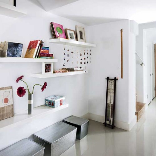 Hallway shelving1 500x500 Make an Entrance   Big Ideas for a Small Space