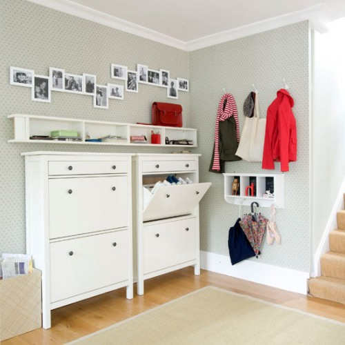 hallway storage ideas  hallways  decorating idea for hallways1 500x500 Make an Entrance   Big Ideas for a Small Space