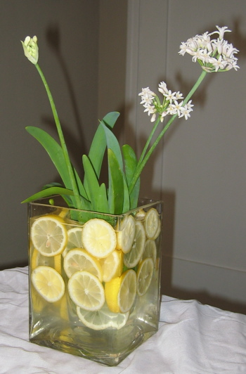 sliced lemon centerpiece 328x500 Alfresco Glam Outdoor Table Decoration