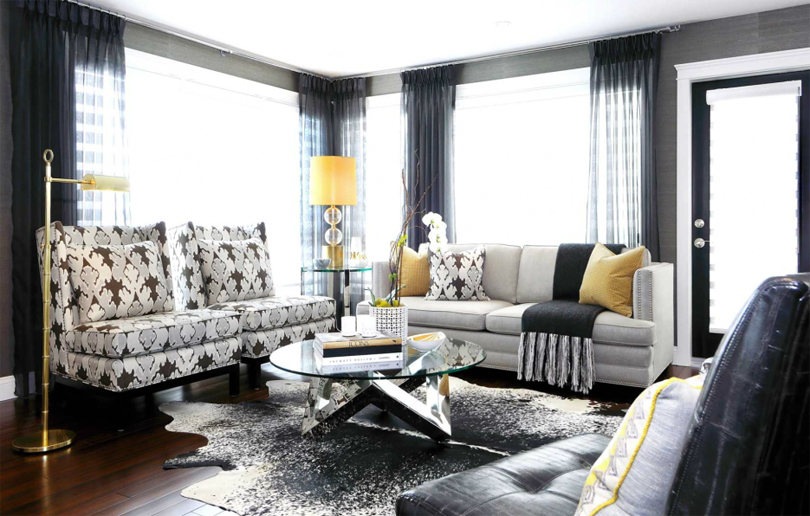 Gray balck yellow modern living room1 emerald interiors blog for Interior design living room yellow