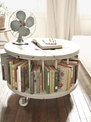 coffee table bookcase made from an old cable reel
