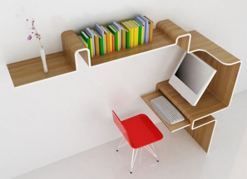 K Workstation 500x363 15 Creative Bookshelves For Your Home