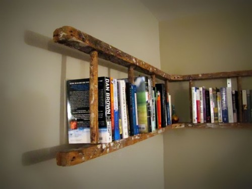 Ladder as bookcase 500x375 15 Creative Bookshelves For Your Home