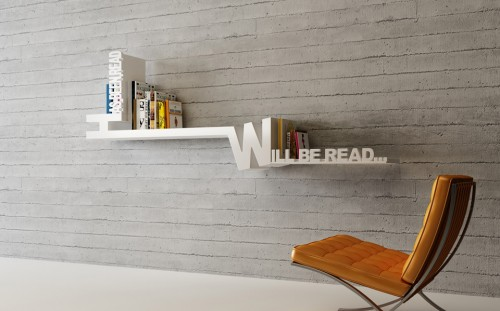 Typographic Bookshelf 2 500x311 15 Creative Bookshelves For Your Home