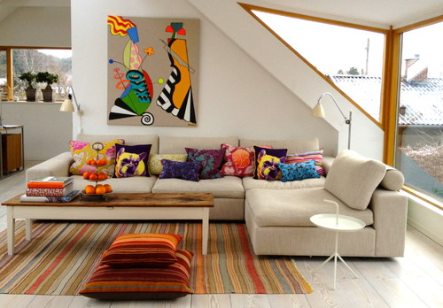 Colourful contemporary family room