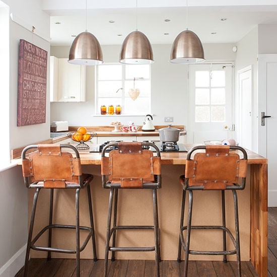 33 Inspiring Industrial Style Home Offices That Sport: Industrial-Bar-Stool-Kitchen-Diner-Style-At-Home
