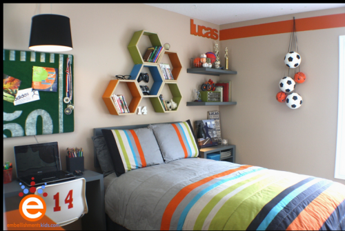 Grey orange and green teenage boys room