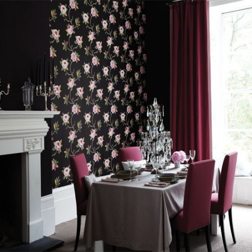 Sanderson Rose and Black Wallpaper