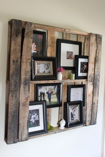 Wine crate picture holder