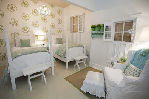I love how the designer has mixed old and new in this gorgeous cottage  style bedroom  The split level ceiling  the beds  stools and those window. 18 Shared Bedroom Idea s For Kids   Emerald Interiors Blog