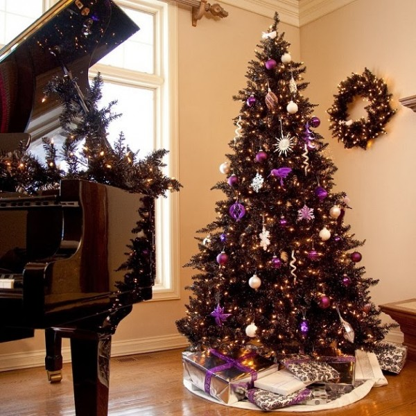 purple and white christmas theme