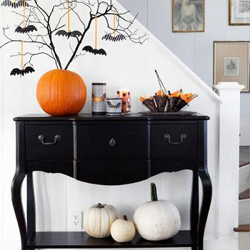 halloween decor black and white foyer good housekeeping