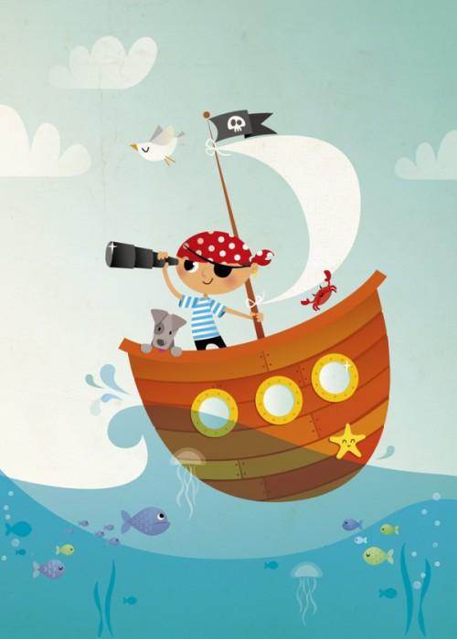 pirate at sea - irene gough prints